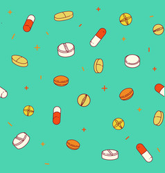 Colorful seamless pattern with pills and capsules vector