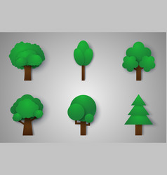 Set of trees paper art style vector