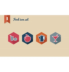 Menu food flat icons set vector image