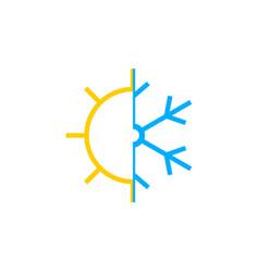 Sun and snowflake icon vector