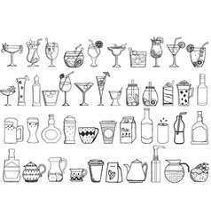Big set of hand drawn drinks on white background vector