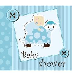Baby shower - boy sleep on a turtle vector image