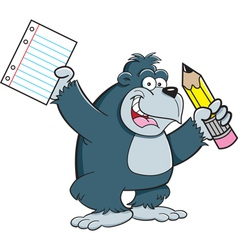 Cartoon gorilla student vector