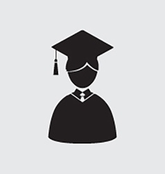 Students in graduation gown and mortarboard vector