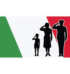 Italy soldier family salute vector