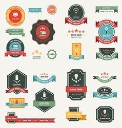 Label and ribbon template design set vector