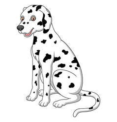 Cute and adorable dalmatian dog sitting on floor vector