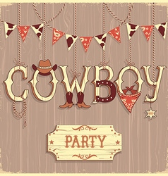 Cowboy party text background vector