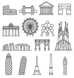 Europe monument line art style vector