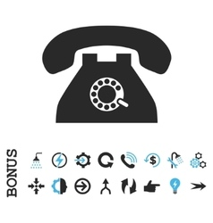 Pulse phone flat icon with bonus vector