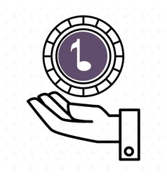 Hand and music purple isolated icon design vector