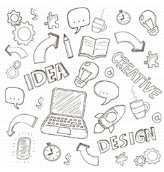 Business doodles set vector