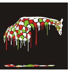 Abstract giraffe painting on a black background vector image vector image