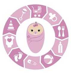 Baby girl shower cartoon design vector