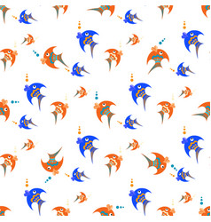 blue and orange fish on a white background vector image vector image