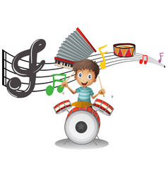 boy plays drumset with music notes in background vector image vector image