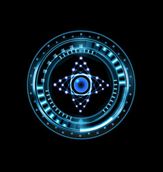 brilliant technological eye hud isolated on a vector image