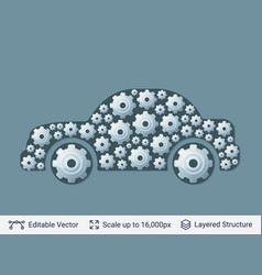 car silhouette filled with gears vector image vector image