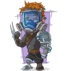 Cartoon super soldier in gas mask vector