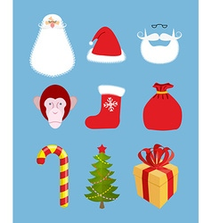 Christmas icons set Characters Christmas and new vector image