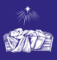 Christmas story christmas night baby jesus in vector
