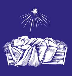 Christmas story christmas night baby jesus in vector