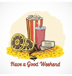 Colored cinema weekend concept vector