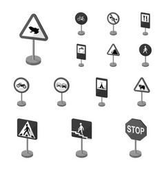 Different types of road signs monochrome icons in vector
