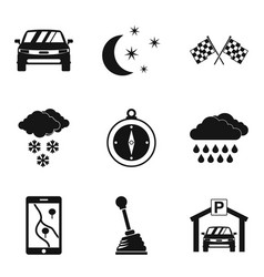 Drive icons set simple style vector