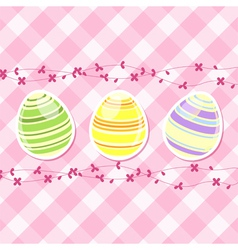 Easter egg and spring flowers on pink gingham vector image vector image