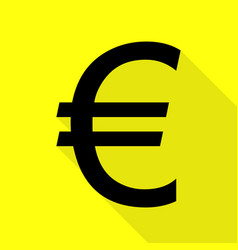 Euro sign black icon with flat style shadow path vector