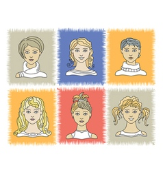Faces girls 1-2 vector