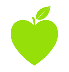 Green icon with heart shape and leaf can vector