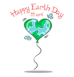Happy earth day with love balloon vector