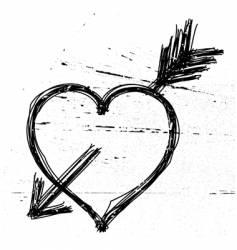 Heart symbol on grunge background vector