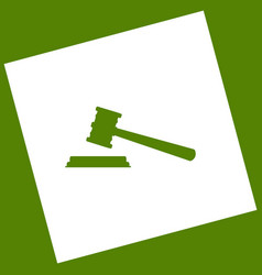 Justice hammer sign white icon obtained vector