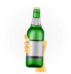 Large beer bottle in hand vector