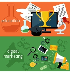 Online education and digital marketing vector