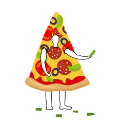 Pizza man mascot promoter male in suit slice vector