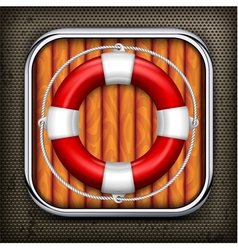 Red life buoy on wooden vector image