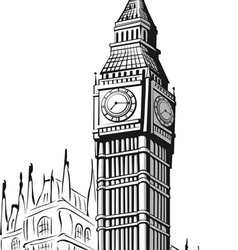Sketch of big ben london vector