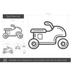 Sport bike line icon vector