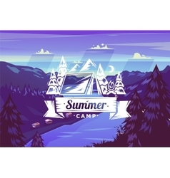 Summer camp typography design on background vector image vector image