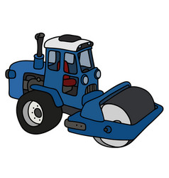 the blue road roller vector image vector image