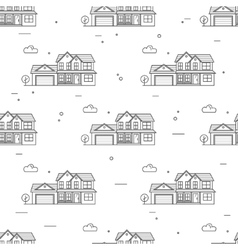 Thin line suburban american houses seamless vector