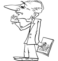 Thinking man cartoon coloring page vector