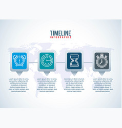 timeline infographic world business clock design vector image