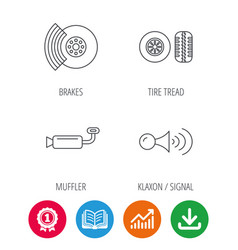 tire tread brakes and steering wheel icons vector image vector image