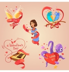 Valentine day retro cartoon set vector
