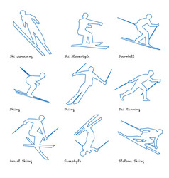 winter sports line icon set 3 vector image vector image